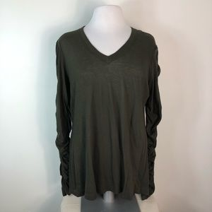 NWT Wilt Ruched Puff Long Sleeve Olive Baby Tee